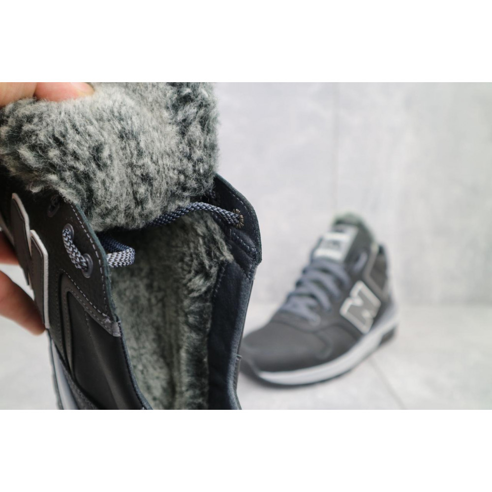 Зимние кроссовки мужские - Мужские кроссовки кожаные зимние черные-серые New Mercury круз ч-с 2
