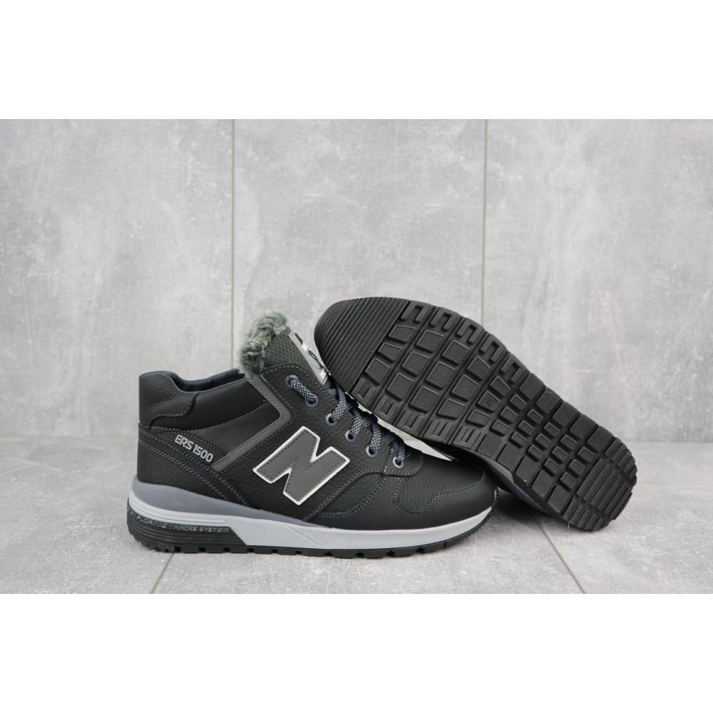 Зимние кроссовки мужские - Мужские кроссовки кожаные зимние черные-серые New Mercury круз ч-с 5