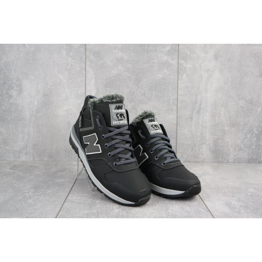 Зимние кроссовки мужские - Мужские кроссовки кожаные зимние черные-серые New Mercury круз ч-с