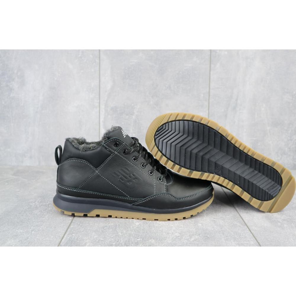 Зимние кроссовки мужские - Мужские кроссовки кожаные зимние черные Anser 100 4