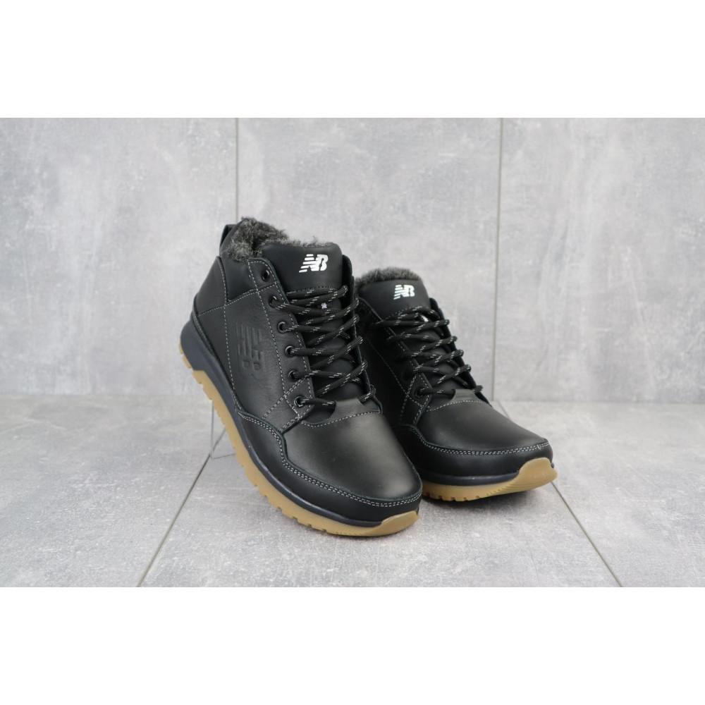Зимние кроссовки мужские - Мужские кроссовки кожаные зимние черные Anser 100