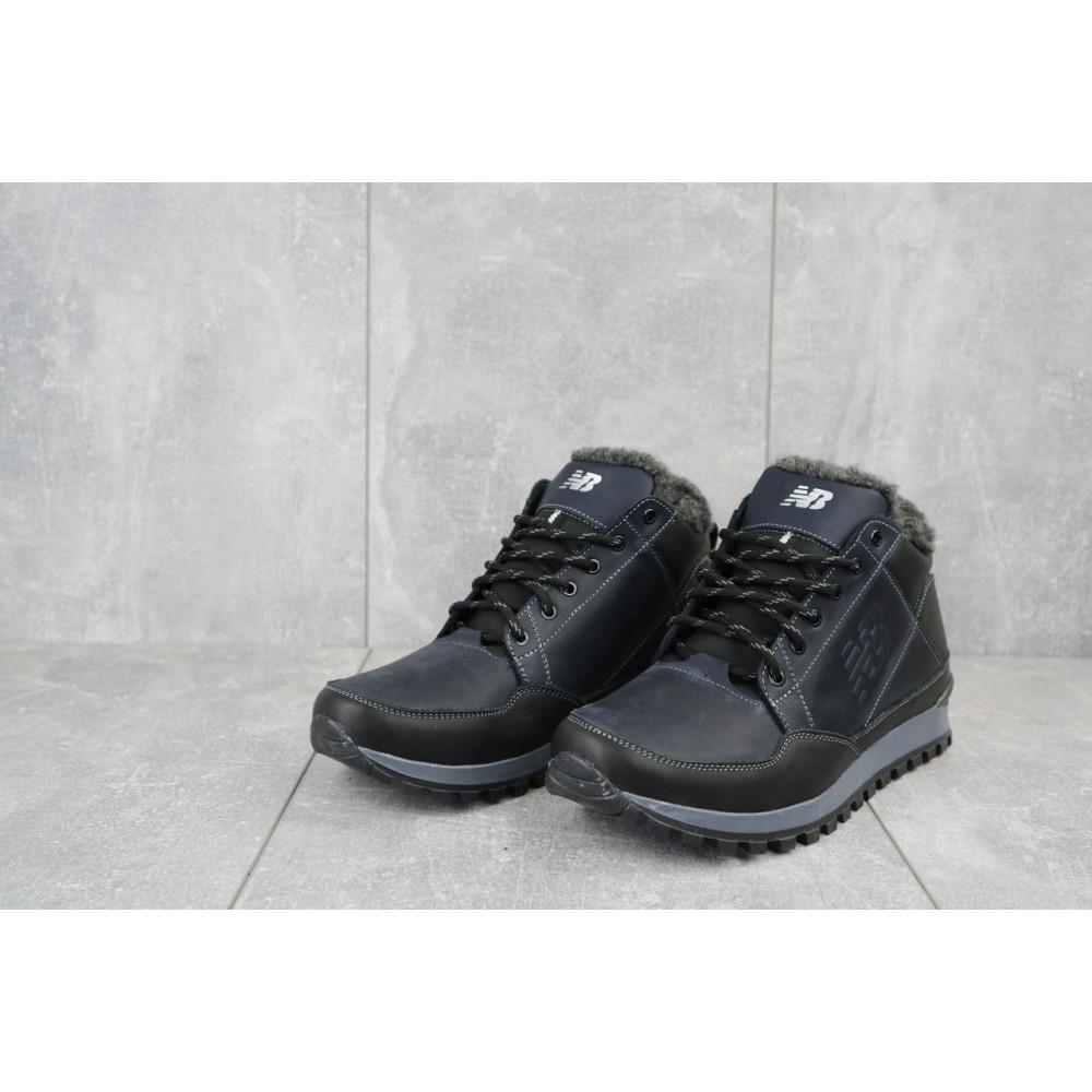 Зимние кроссовки мужские - Мужские кроссовки кожаные зимние черные-синие Anser 100 4