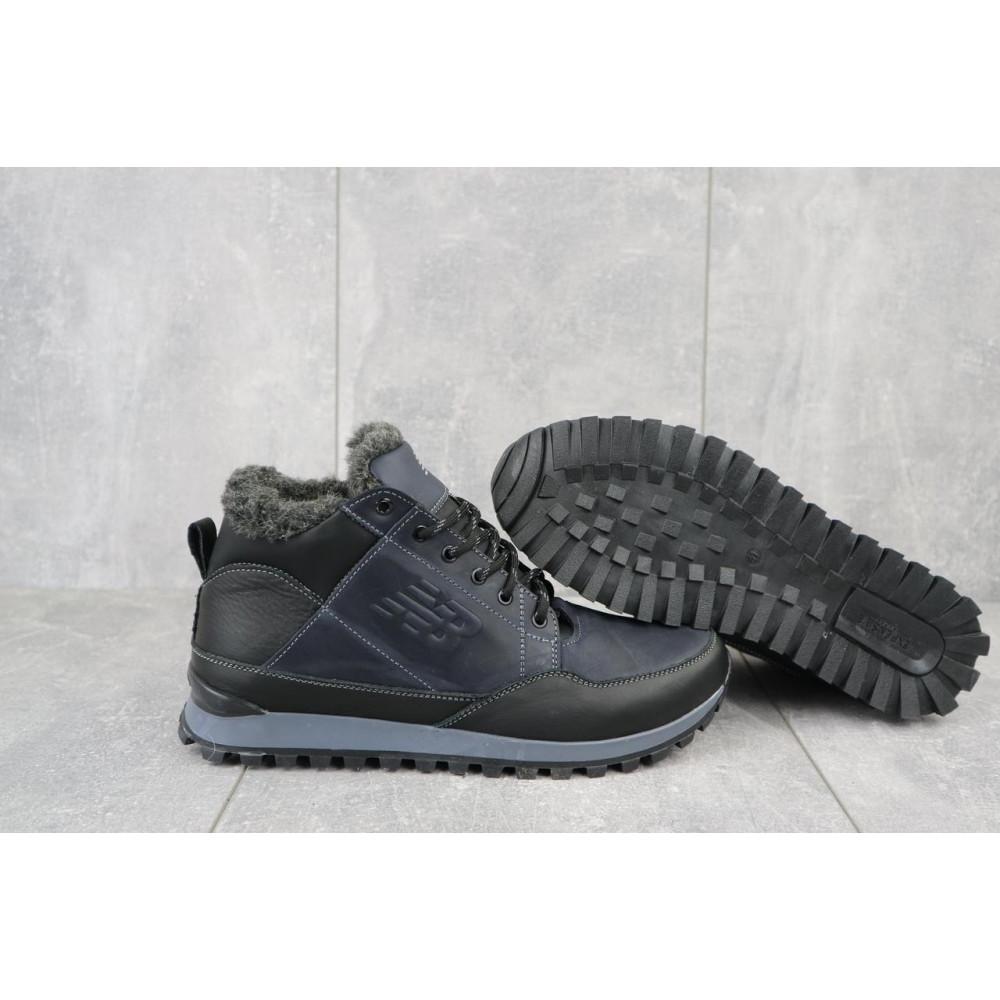 Зимние кроссовки мужские - Мужские кроссовки кожаные зимние черные-синие Anser 100 5