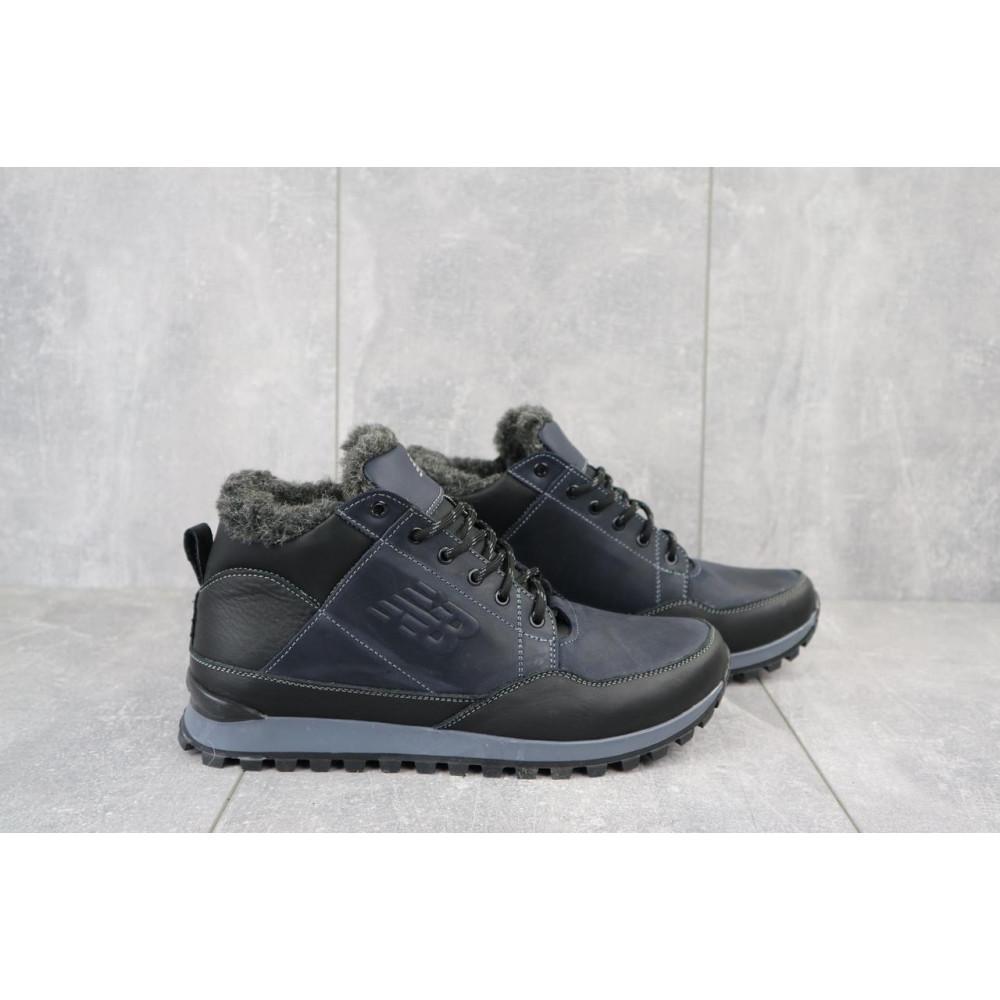 Зимние кроссовки мужские - Мужские кроссовки кожаные зимние черные-синие Anser 100 3