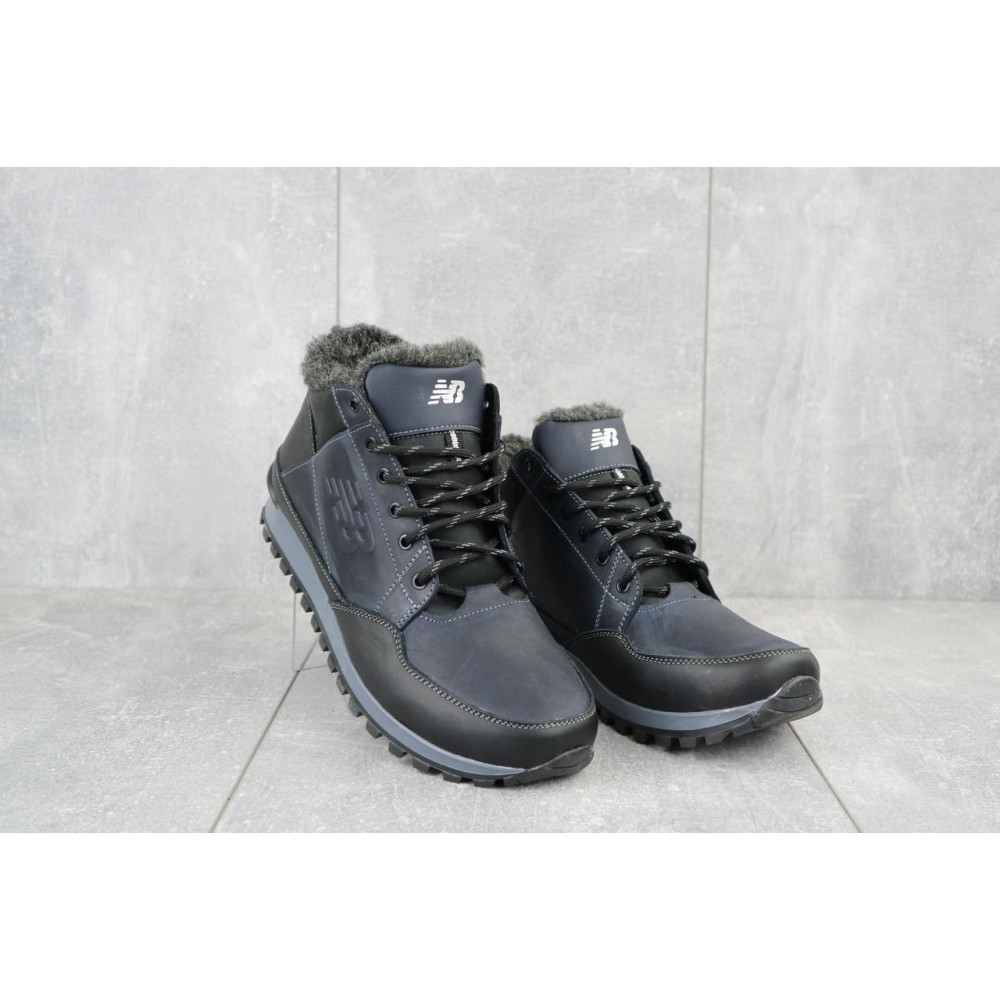 Зимние кроссовки мужские - Мужские кроссовки кожаные зимние черные-синие Anser 100