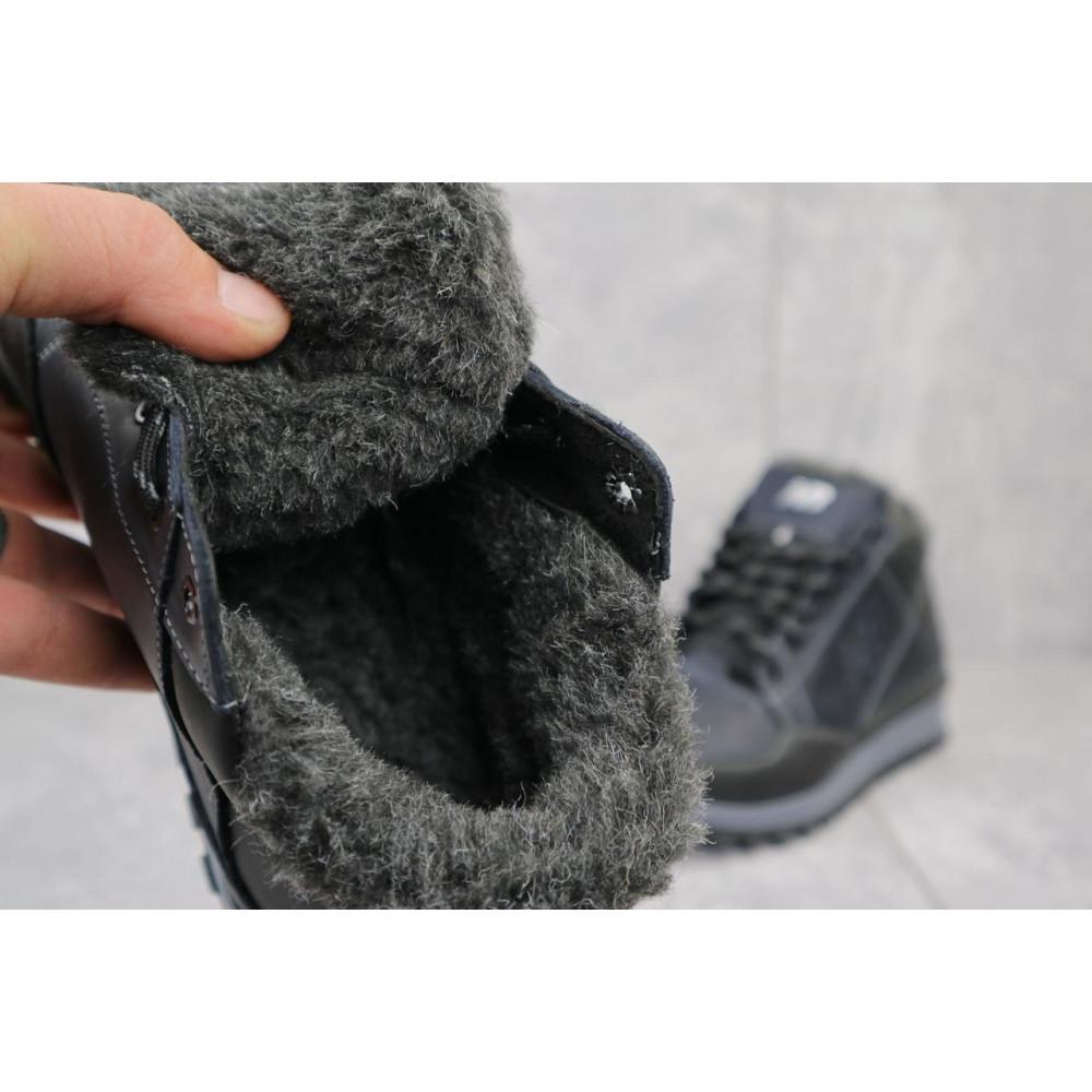 Зимние кроссовки мужские - Мужские кроссовки кожаные зимние черные-синие Anser 100 2