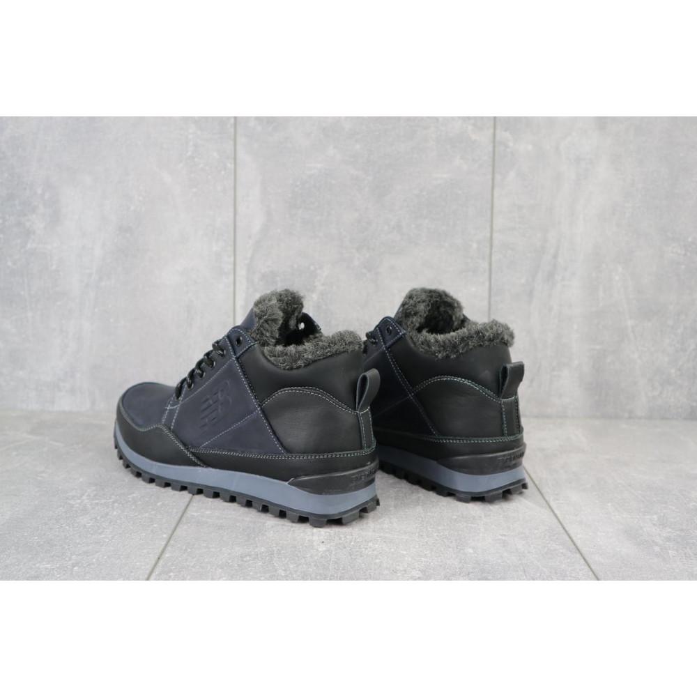 Зимние кроссовки мужские - Мужские кроссовки кожаные зимние черные-синие Anser 100 1