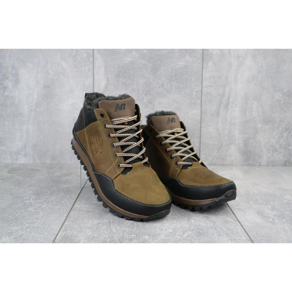 Зимние кроссовки мужские - Мужские кроссовки кожаные зимние черные-коричневые Anser 100