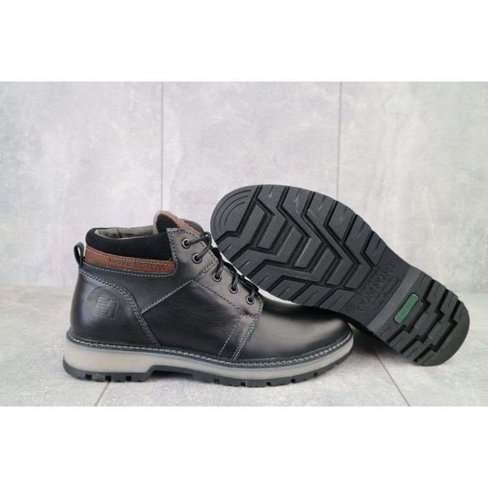 Мужские ботинки зимние - Мужские ботинки кожаные зимние черные Maxus KET 2 3