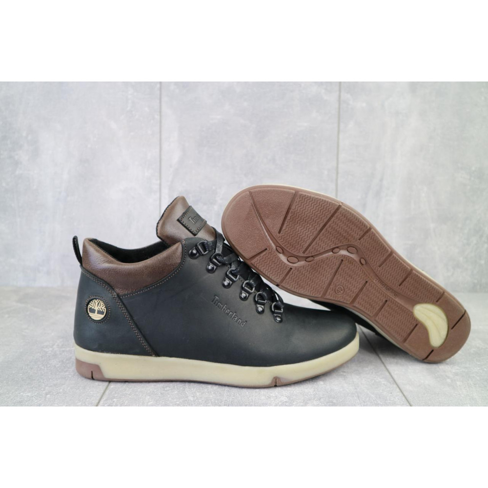 Мужские ботинки зимние - Мужские ботинки кожаные зимние черные-матовые Yuves 773 7