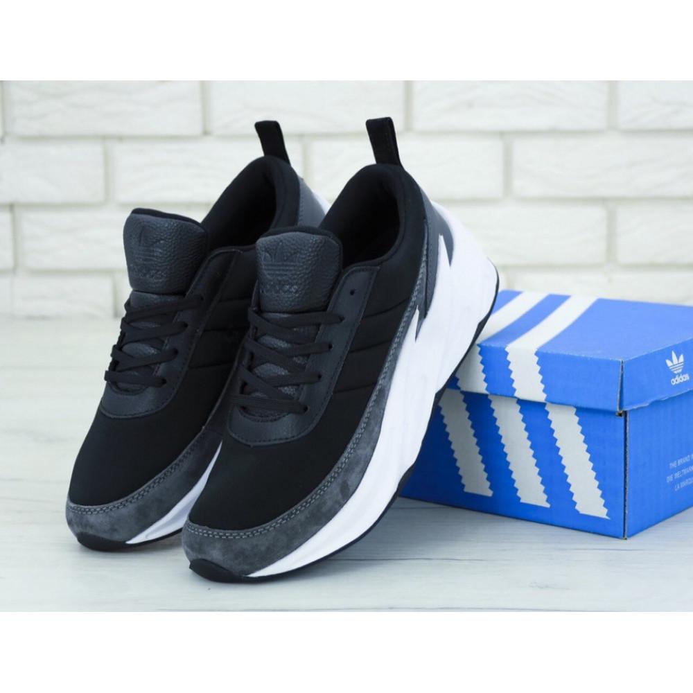 Демисезонные кроссовки мужские   - Кроссовки Adidas Sharks Black Grey