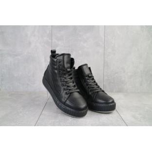 Женские кеды кожаные зимние черные Brand B8(В11)