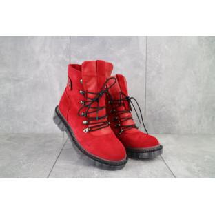 Женские ботинки замшевые зимние красные Mkrafvt 1188/2