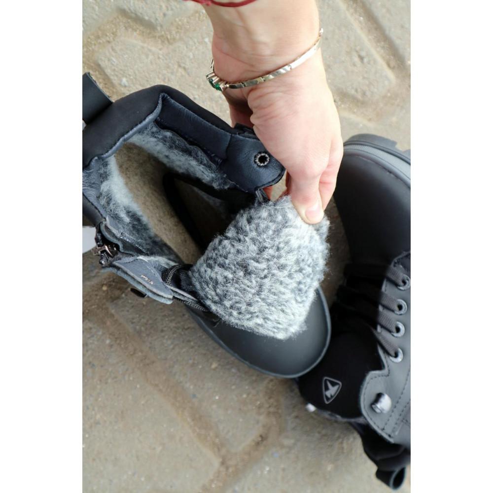 Детские ботинки зимние  - Детские ботинки кожаные зимние черные-матовые CrosSav z 37 2