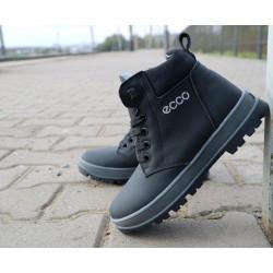 Детские ботинки кожаные зимние черные-матовые CrosSav z 37