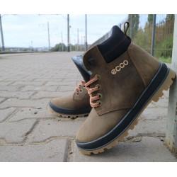 Детские ботинки кожаные зимние оливковые-черные CrosSav z 37