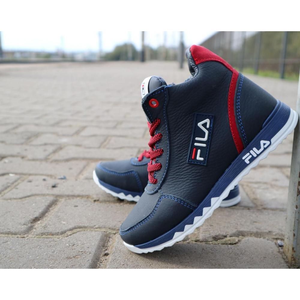 Детские ботинки зимние  - Детские ботинки кожаные зимние синие-красные CrosSav z 48