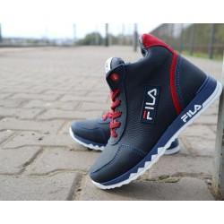 Детские ботинки кожаные зимние синие-красные CrosSav z 48
