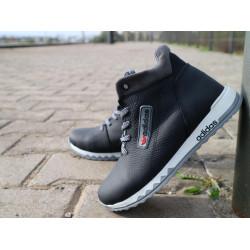 Детские кроссовки кожаные зимние черные-серые CrosSav z 39