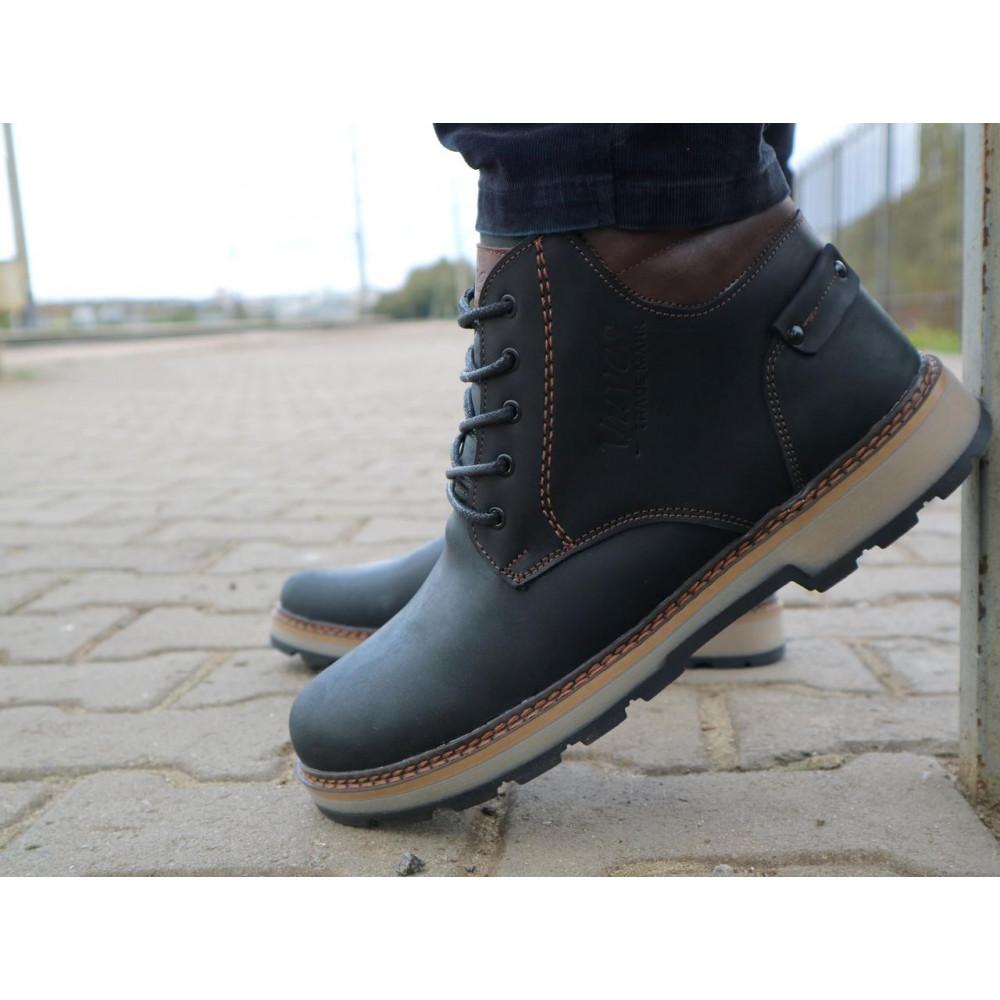 Мужские ботинки зимние - Мужские ботинки кожаные зимние черные-матовые Yuves 775