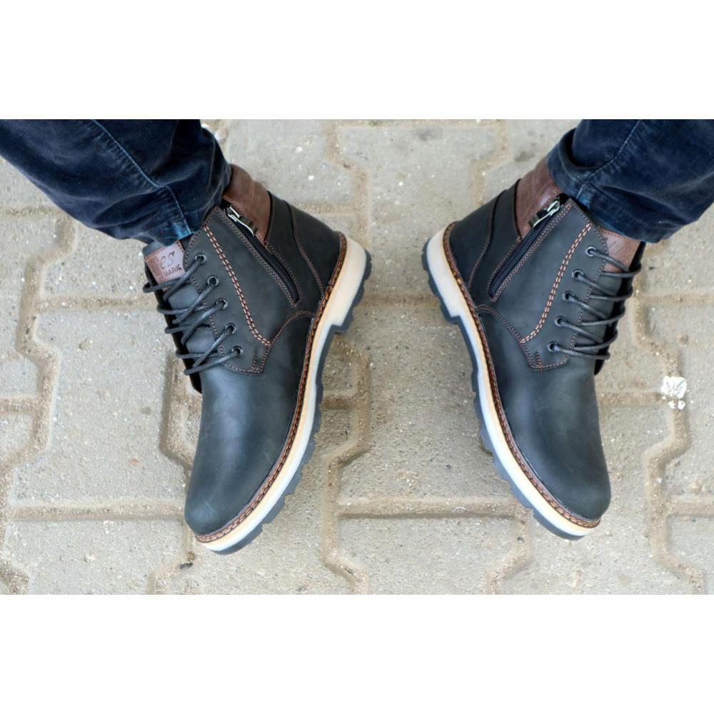 Мужские ботинки зимние - Мужские ботинки кожаные зимние черные-матовые Yuves 775 8