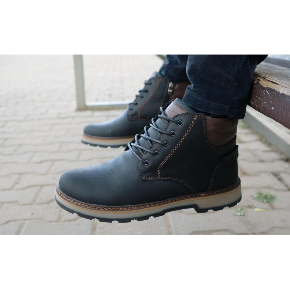 Мужские ботинки зимние - Мужские ботинки кожаные зимние черные-матовые Yuves 775 7
