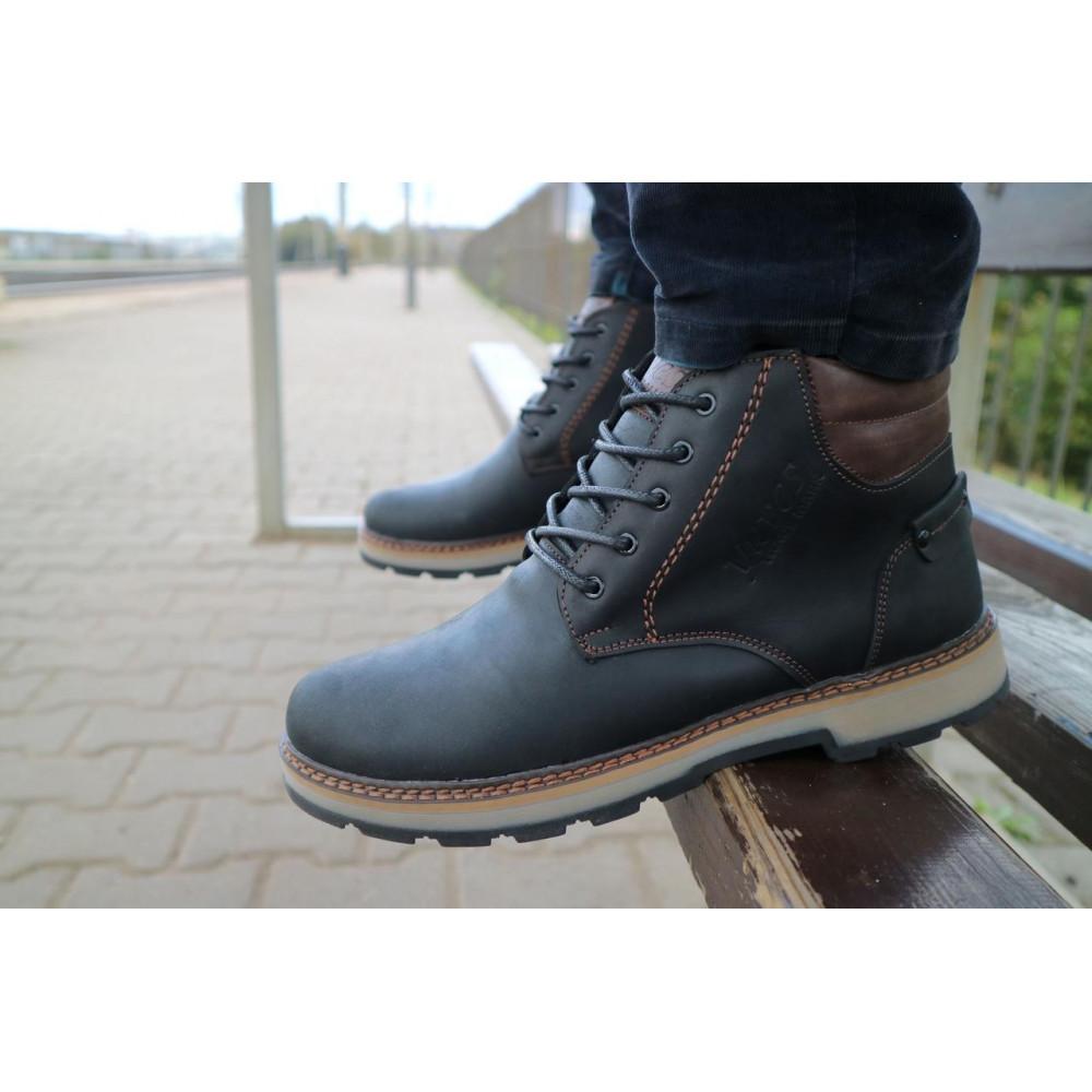 Мужские ботинки зимние - Мужские ботинки кожаные зимние черные-матовые Yuves 775 9