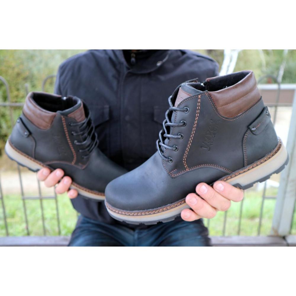 Мужские ботинки зимние - Мужские ботинки кожаные зимние черные-матовые Yuves 775 6