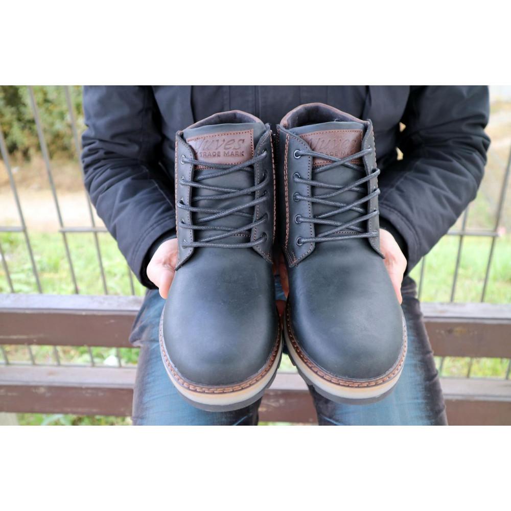 Мужские ботинки зимние - Мужские ботинки кожаные зимние черные-матовые Yuves 775 5