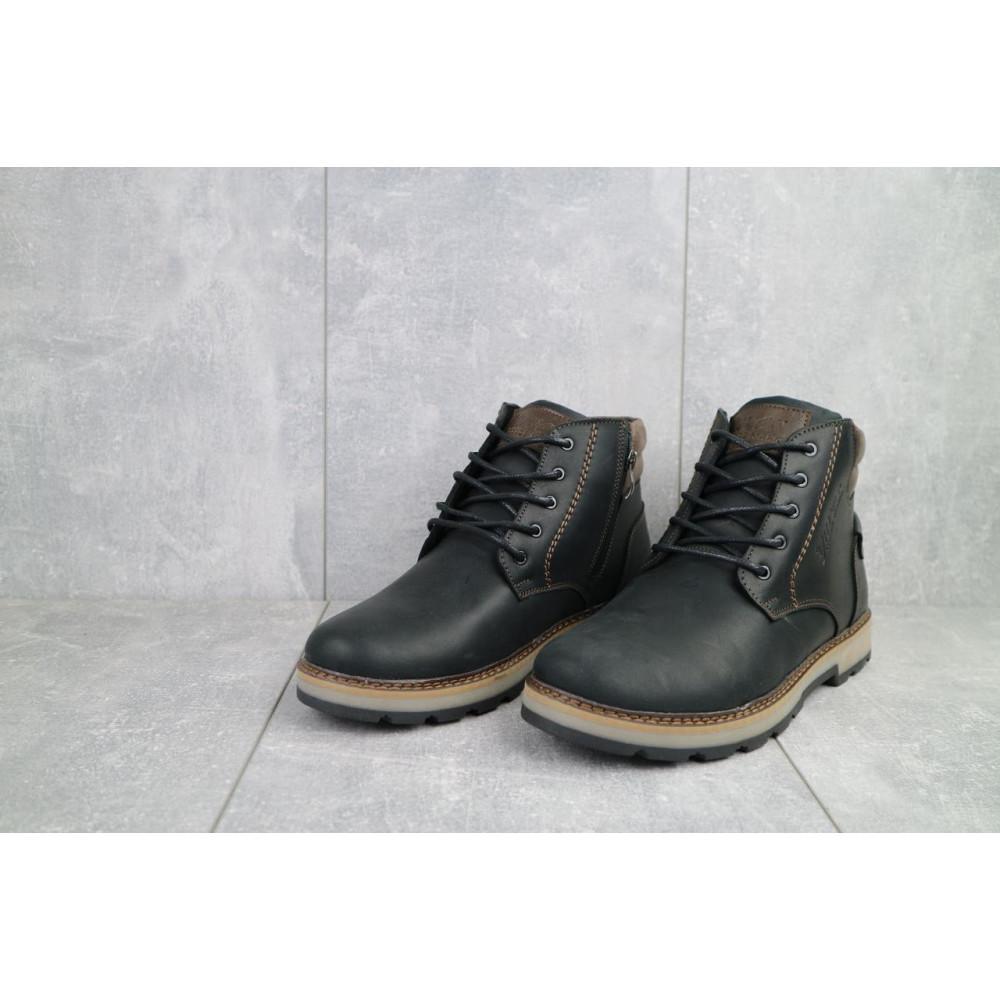 Мужские ботинки зимние - Мужские ботинки кожаные зимние черные-матовые Yuves 775 3