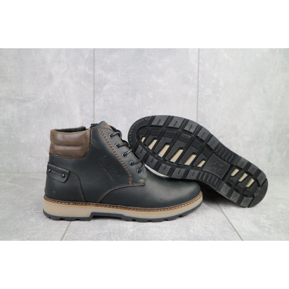 Мужские ботинки зимние - Мужские ботинки кожаные зимние черные-матовые Yuves 775 2