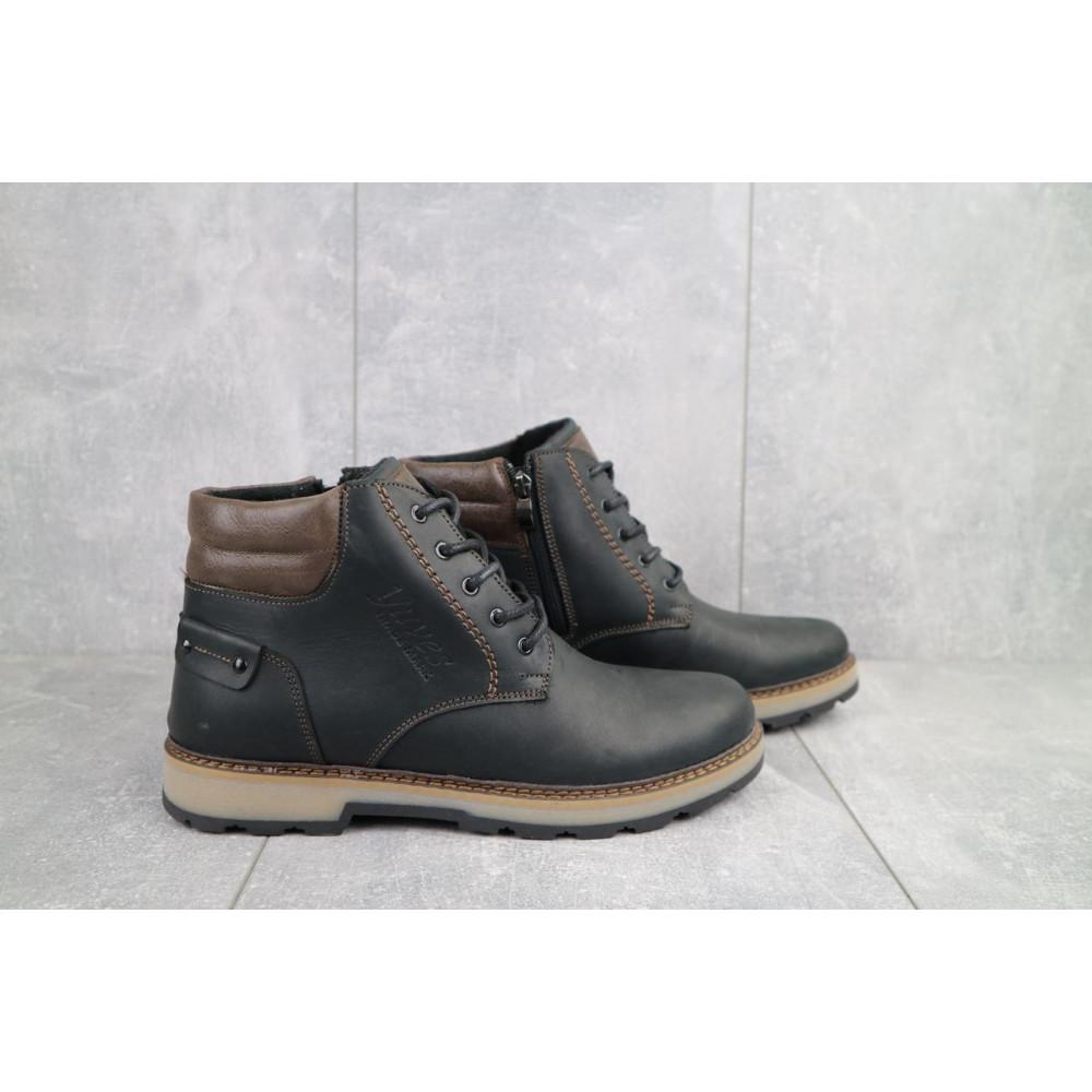 Мужские ботинки зимние - Мужские ботинки кожаные зимние черные-матовые Yuves 775 1