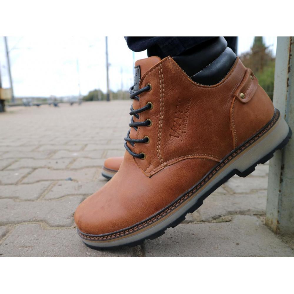 Мужские ботинки зимние - Мужские ботинки кожаные зимние рыжие Yuves 775