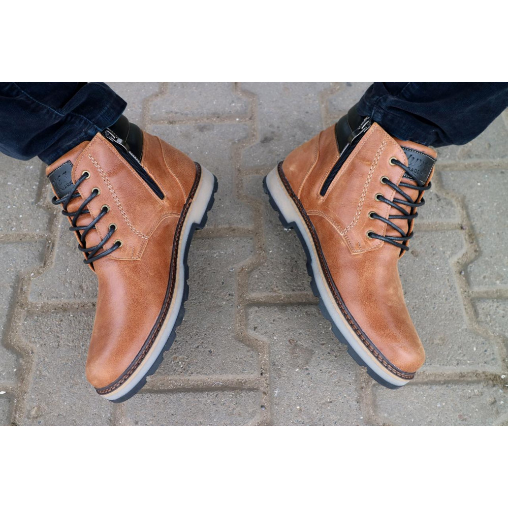 Мужские ботинки зимние - Мужские ботинки кожаные зимние рыжие Yuves 775 8