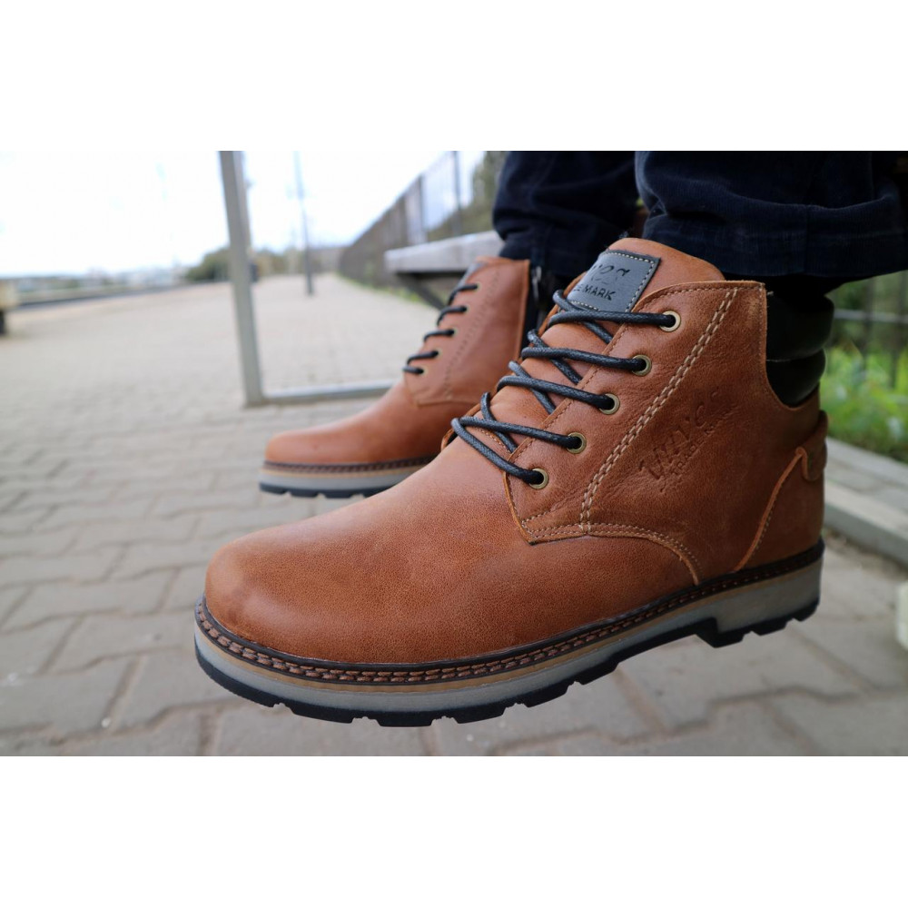 Мужские ботинки зимние - Мужские ботинки кожаные зимние рыжие Yuves 775 9