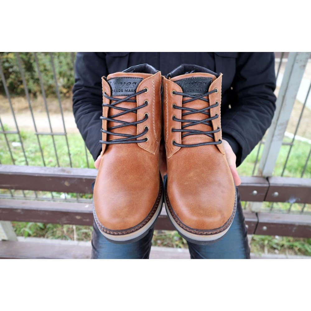Мужские ботинки зимние - Мужские ботинки кожаные зимние рыжие Yuves 775 5