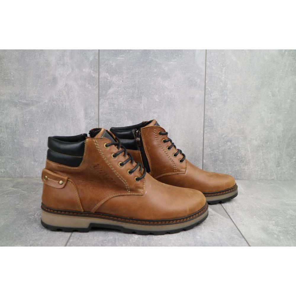 Мужские ботинки зимние - Мужские ботинки кожаные зимние рыжие Yuves 775 1