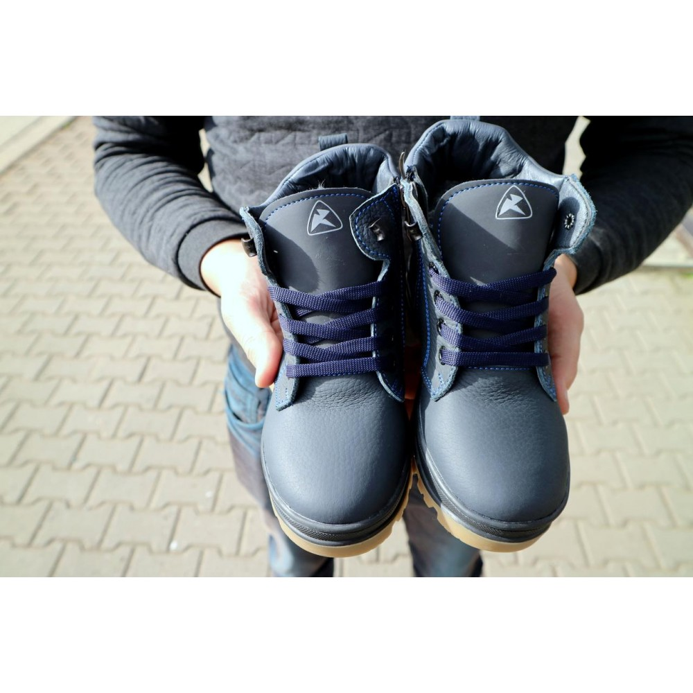 Детские ботинки зимние  - Детские ботинки кожаные зимние синие CrosSav z 37 3