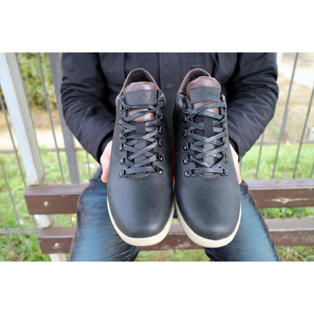 Мужские ботинки зимние - Мужские ботинки кожаные зимние черные-матовые Yuves 773 9