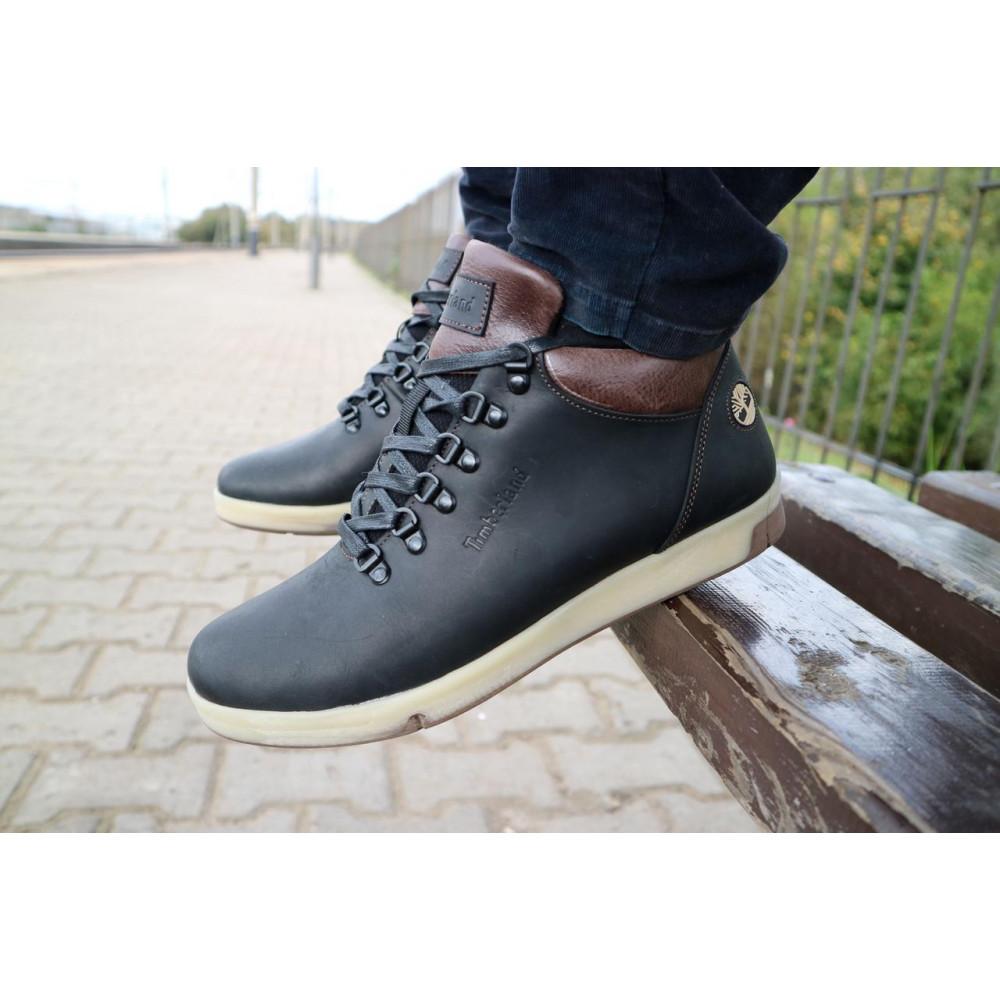 Мужские ботинки зимние - Мужские ботинки кожаные зимние черные-матовые Yuves 773 2