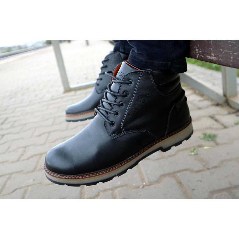 Мужские ботинки зимние - Мужские ботинки кожаные зимние черные Yuves 775 8