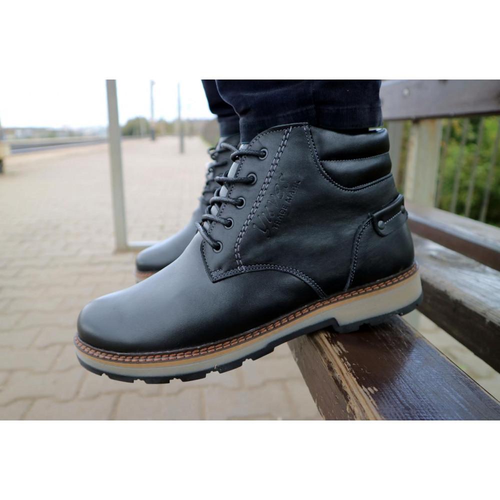 Мужские ботинки зимние - Мужские ботинки кожаные зимние черные Yuves 775 7