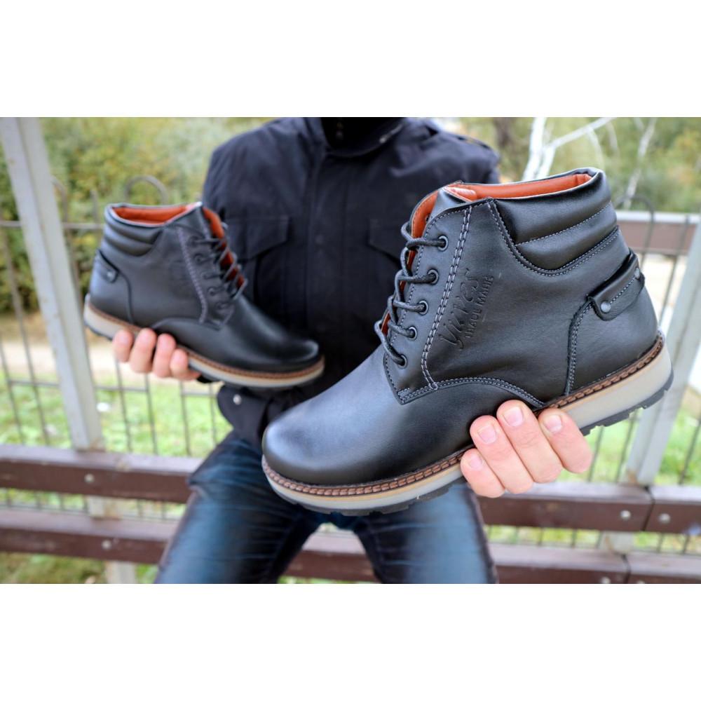 Мужские ботинки зимние - Мужские ботинки кожаные зимние черные Yuves 775 6
