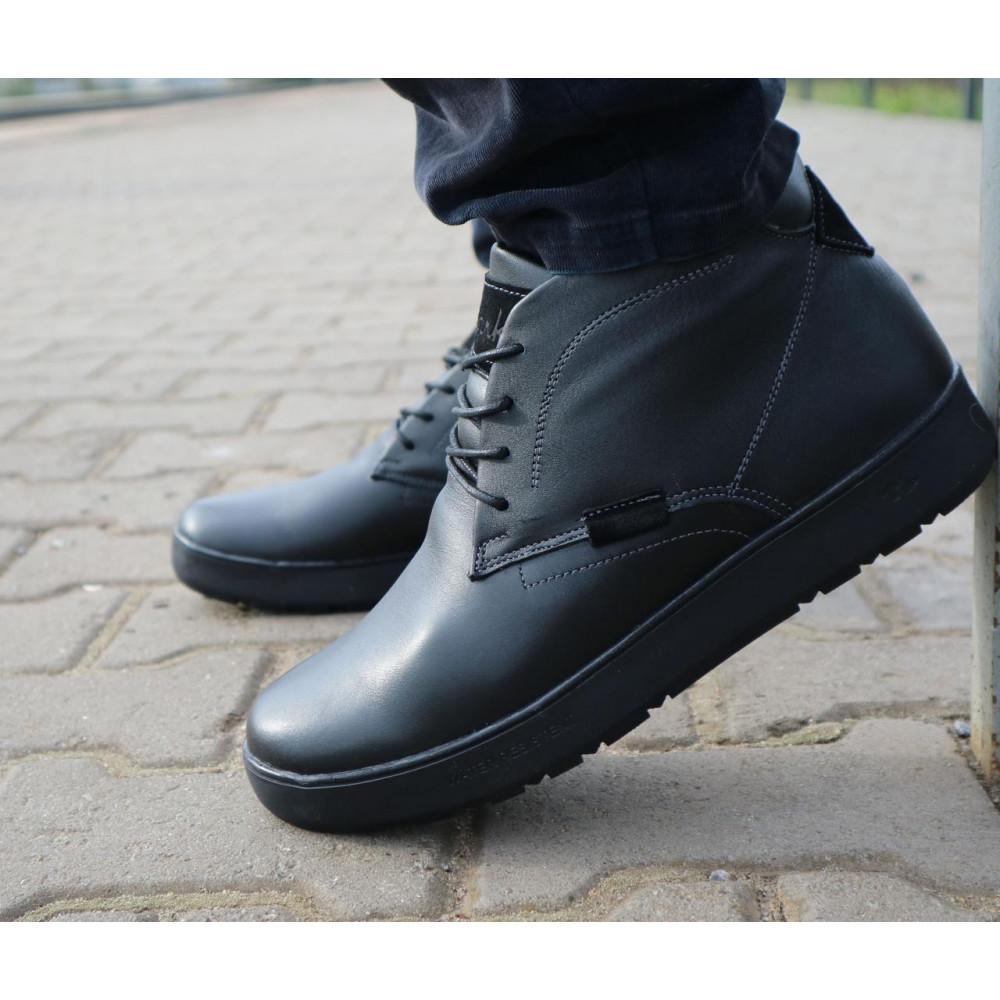 Мужские ботинки зимние - Мужские ботинки кожаные зимние черные Yuves 777chorn 4