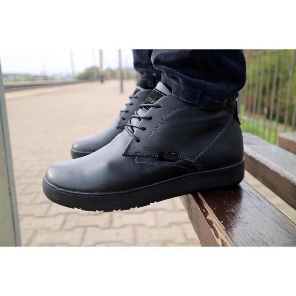 Мужские ботинки зимние - Мужские ботинки кожаные зимние черные Yuves 777chorn 2