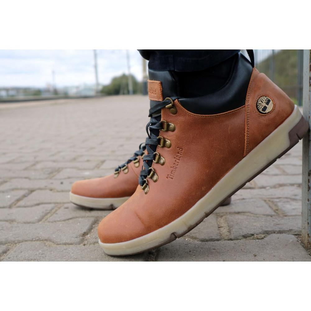 Мужские ботинки зимние - Мужские ботинки кожаные зимние рыжие Yuves 773