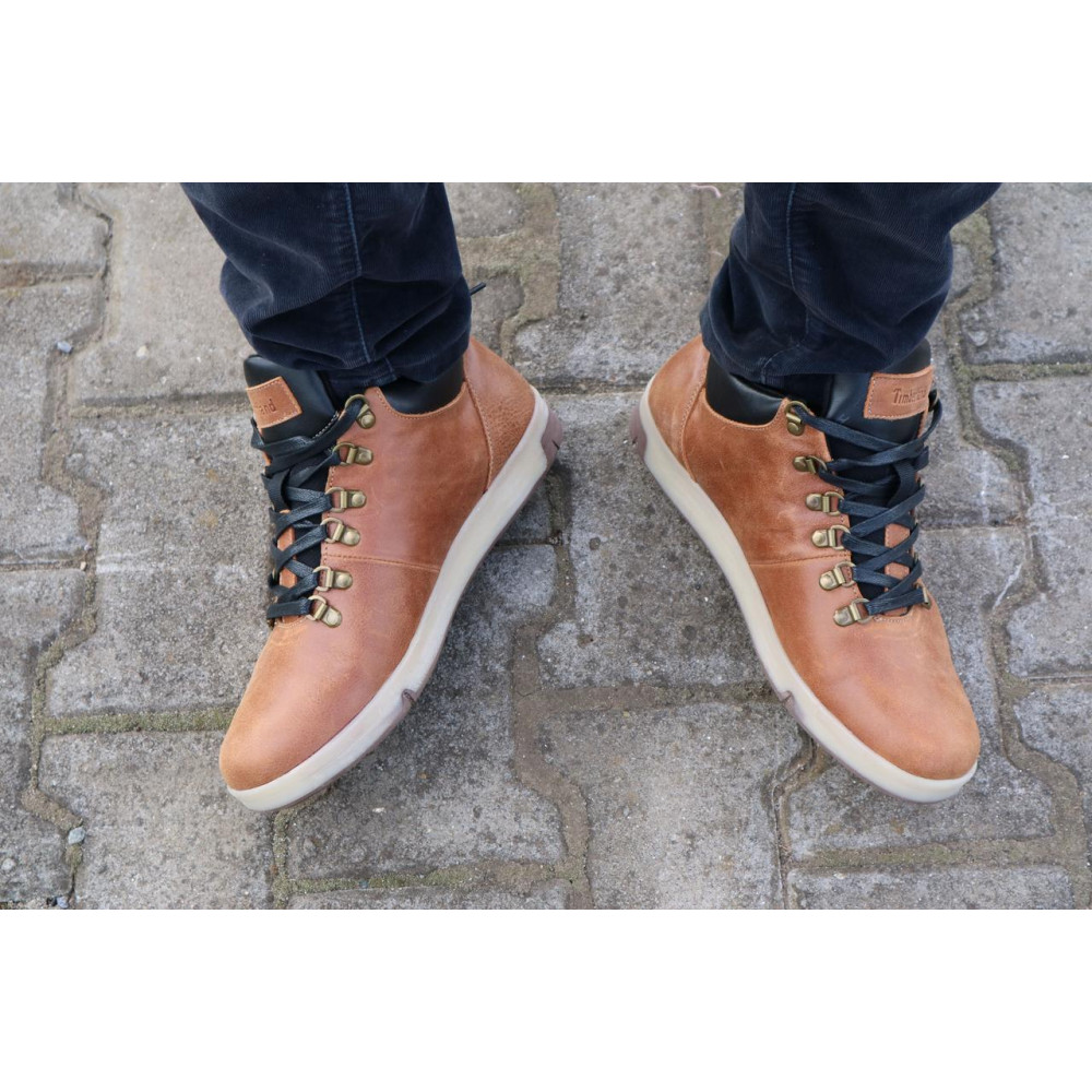 Мужские ботинки зимние - Мужские ботинки кожаные зимние рыжие Yuves 773 8