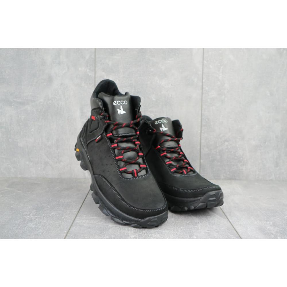 Мужские ботинки зимние - Мужские ботинки кожаные зимние черные-красные Gepard 222
