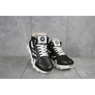 Женские кроссовки кожаные зимние черные-белые CrosSAV 50