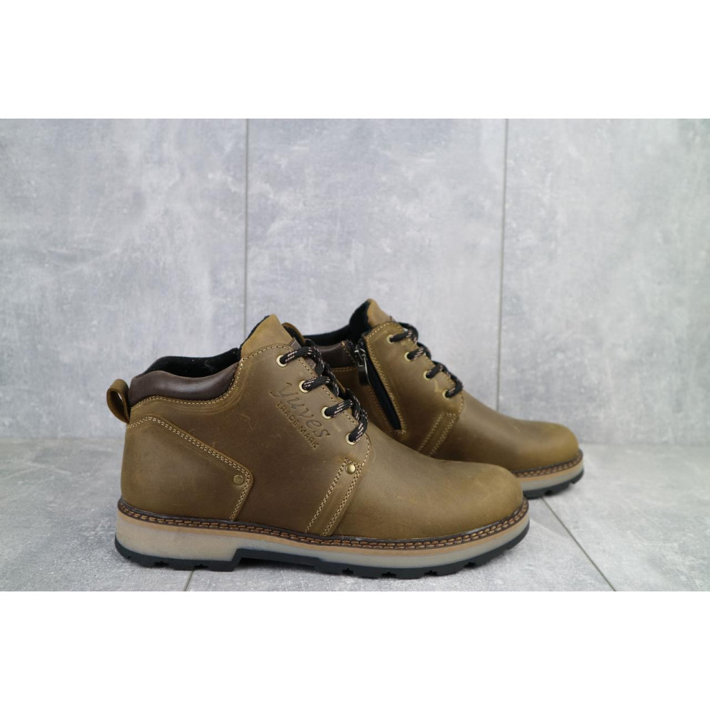 Мужские ботинки зимние - Мужские ботинки кожаные зимние оливковые Yuves 781 6